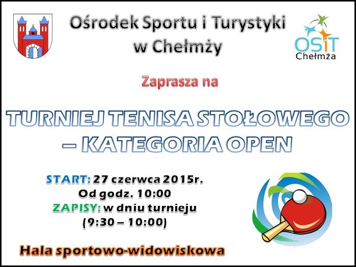 Turniej Tenisa Stołowego - kategoria OPEN plakat