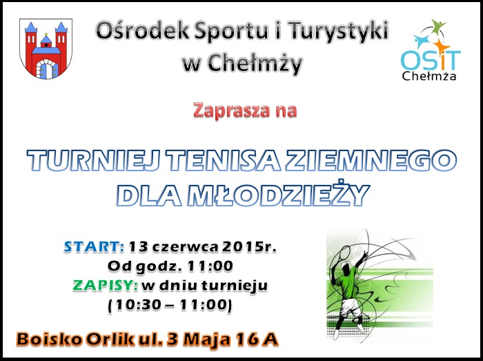 Turniej tenisa ziemnego dla młodzieży plakat