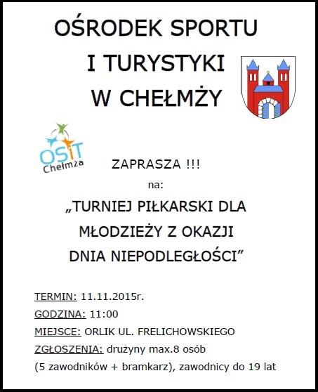 Plakat Turniej Dzień Niepodległości- 11.11.2015